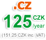 CZ domain 125 CZK/year (151 CZK with VAT)