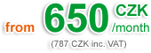 650 CZK/m. (787 CZK with VAT)
